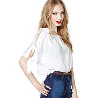 Fashion sexy bow richcoco lacing short design loose fifth sleeve half sleeve chiffon shirt d366