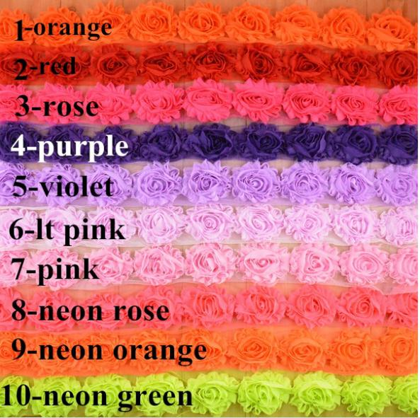 "2014 wholesale New 2.5 "" chiffon rose fabric flower shabby flowers yard baby girls hair accessories 19 colors 10yard/lot(China (Mainland))"