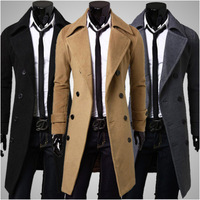2014 men coats wool Double-breasted  Tweed Coat Winter Tench Outwear Big Size