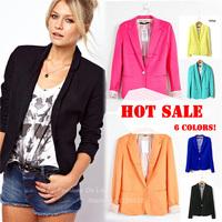 Cheapest Fashion Women Jacket Blazer Suit Foldable Long Sleeve Lapel Coat Lined with Striped Single Button Vogue Style Plus Size