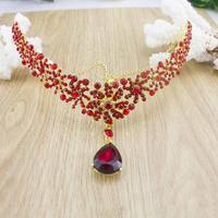 free shipping Elegant Full Rhinestone Red color wedding neacklace Flower designs Crystal Wedding hair Jewelry Wedding sky-j120