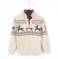 2014 Autumn Children'S Clothing Boy Stand Collar Snow Deer Pattern Sweater Child New Fawn Sweater Elk Sweaters XG50-117