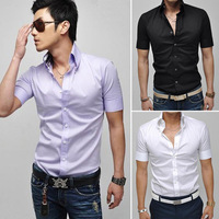 2014 Summer Men Male Brand Casual New Polo Shirt Slim Fit Stylish Short Sleeve Button Dress Shirt 3 Color 2 Sizes