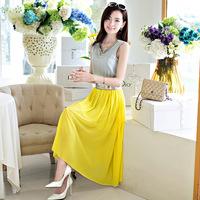 Free Shipping 2014 V-neck beading sleeveless one-piece dress denim patchwork chiffon slim one-piece dress full dress female