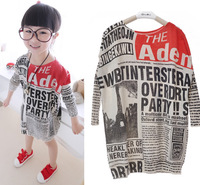 Fashion Girl's Kids Oversize Newspaper Letter Print Jumper Casual Loose Sweater