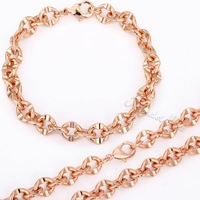 8mm Cut Cable Link Mens Boys Chain Rose Gold Filled Bracelet Necklace Jewelry Set Personalize Size Wholesale Jewelry GS82