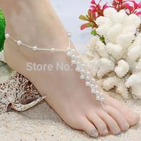 Handmade PEARL ANKLET Bracelet WEDDING Bridal FOOT Jewelry Toe Ring