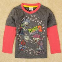 Newness Cartoon Plants Vs Zombies Brand Nova Children Top t-Shirt With Embroidery Boy Short Sleeve Kids Wear Boy Free Shipping