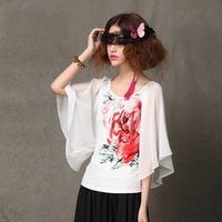 2014 New Summer Women's T-shirt Novelty Butterfly Chiffon Sleeve Blouses Cotton Flower Print Ethnic Style Top Tee Free Shipping