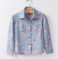 Hot sell Autumn 2014  new cotton printing denim children blouse girls shirt 2-3 to 9-10