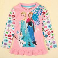 Lovely Frozen Nova Brand Kids Clothing Printed Cartoon Spring Autumn Causal Long Cotton t-Shirt For Baby Girls Free Shipping