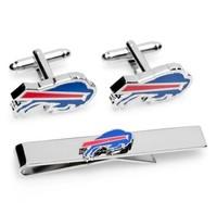 NFL Buffalo Bills Plated Cufflinks And Tie Bar Gift Set Football PD-BBL-CT
