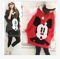 Women Autumn and winter Cartoon clothing  ong sleeve head thick female Fleece Sweatshirt Hoodie cute dress