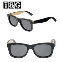 Fashon Nose Hand Made Black Beige Skateboard Wood New 2015 Unisex Sunglasses Luxury Brand Designer Polarized Eyewear