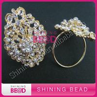 gold clear rhinestone napkin ring, free shipping,2015 new design crystal napkin ring