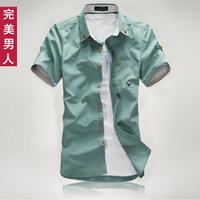 14 hot-selling fashion small mushroom male short-sleeve shirt slim all-match light blue shirt