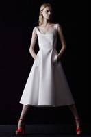 Ballet dancer Elegant white umbrella dress Restore ancient ways round collar dress vest Tall waist giant pendulum dress