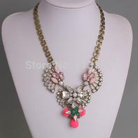 New Trendy High Quality Fashion Womens Vintage Jewellery Hot Sale Pink Rhinestone Acrylic Statement Flower Necklace PBN-142
