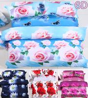 100% cotton 3d flower painting bedding sets cotton printed bedclothes queen bed linen sheet sets,6D Duvet cover set