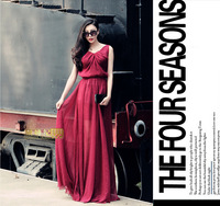 Women Summer new big swing chiffon maxi dress long dress wine red,silver grey,black plus size S-XXL