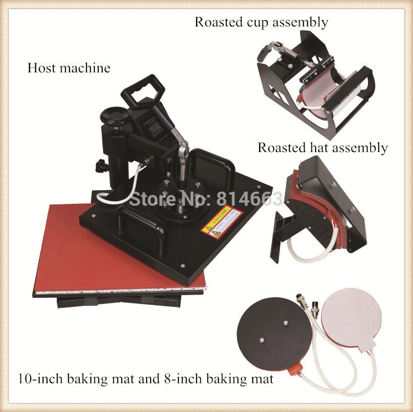 Hot Sell 5 In 1 Combo Heat Press Machine(THJ001) Plate Mug Cap T-Shirt Heat Press Heat Transfer Machine Sublimation machine(China (Mainland))