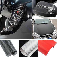 D19Free Shipping 1.27M x 30cm DIY Carbon Fiber Wrap Roll Sticker For Car Auto Vehicle Detailing