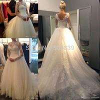 Vestido de noiva Custom Made 2014 Ball Gown Wedding Dresses Lace Appliqued long sleeve wedding dress plus size wedding dress