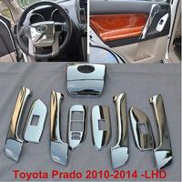 2014 FJ 150 Toyota Land Cruiser Prado 9PCS Chrome Interior Panel Steering Wheel Cover