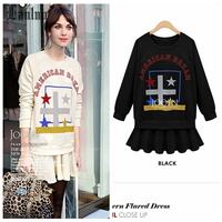 Lanluu New Europe Trendy 2014 Autum Letter Print Sweater Dress Stitching Women Dresses SQ688