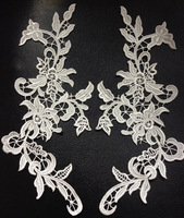 FREE SHIPPING 30cm*12cm ivory white top quality heavy embroidery mirrored appliques,wedding dress flower patches,XERY0717A