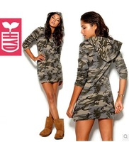drop ship 2014 Military style Long sleeve hooded dress womens sexy club dance party Camouflage dress