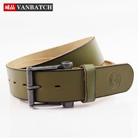 2014 New Green Strap fashionable casual real genuine leather belts for men vintage cowskin pin buckle belt free shipping!