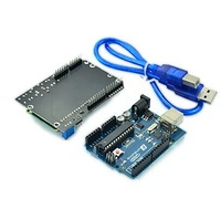 Free shipping (For Arduino) UNO Microcontroller Development Board with LCD Keypad Shield Expansion Board and USB Cable in stock