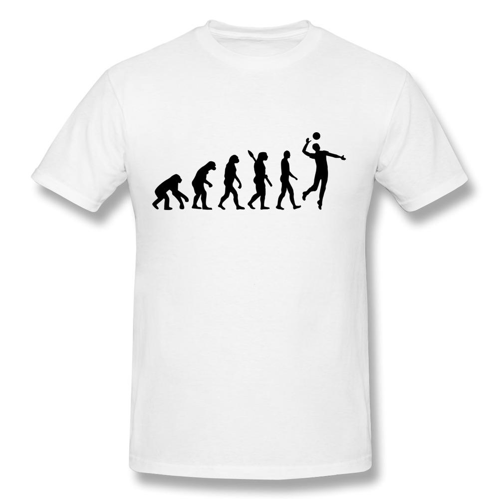 Custom Round Neck T-Shirt Men Evolution Volleyball Cool Logo T-Shirts ...