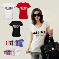 Women FELINE MEOW Top T-shirt Seline Letter T Shirt Summer Fashion Letter Feline Seline T-shirts Print Cotton Shirt Camisetas