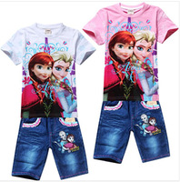 Ice and snow country cartoon suits, short sleeve T-shirt + shorts suit, cowboy Elsa girl children suit the princess