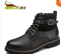 KL503  Konlon 2014 winter scrub genuine leather comfortable male boots outdoor casual male martin boots