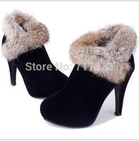 Free shipping women's plush High heel pointed short boots, platform thin heels Roman Princess ankle boots, EUR 35-39