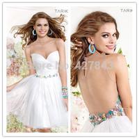 White Homecoming Dress See Through Back Short Cocktail Party Dress vestido de festa Custom Made 2014 Short Prom Dress