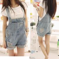 Summer distrressed loose denim suspenders shorts for dx h101-8066  Large size S-XL