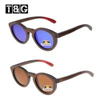 Round Keyhole Inspired Brown Skateboard Wood Sunglasses Men Vintage Retro Brand Designer Polarized Gafas Adult Coating Film Geek