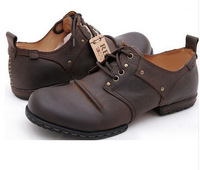 100% Original NEW 2014 Cowide Handmade Shoes Men Leather Genuine Leather Oxfords Casual Shoes, Black/Brown, Plus Sizes