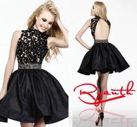 RBC 771 Backless A Line Party Dresses 2014 High Neck Appliques Lace Evening Dress Beading Belt Vestido De Festa