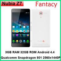Original ZTE Nubia Z7 Mini Z7 Max Snapdragon 801 Quad Core 4G FDD LTE 2GB RAM Android 4.4 13MP IPS 1920x1080P Dual SIM Phone