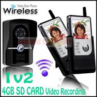 4GB SD card Video Recording Handset TFT Color Display Wireless Video Intercom Doorbell Door Phone Camera Intercom System 1v2