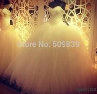 Vestido de noiva Custom Made 2014 Ball Gown Wedding Dresses Heavy Pearls Corset wedding dresses luxury Bridal Gown
