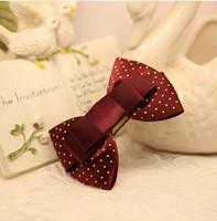 Princess sweet lolita hairpin Original handmade Wine red Burgundy polka dot ribbon bow vintage hair accessories hair clips