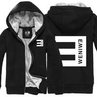 Fashion Eminem Thicken Hoodie Jacket Coat Casual Hip-hop Men`s Clothing Warmth Sweatshirts