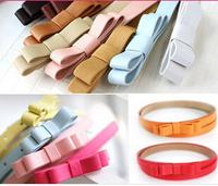 FREE SHIPPING 5pcs/lot children candy color belt girls/boys double bow thin waist belt kids Pu leather belt