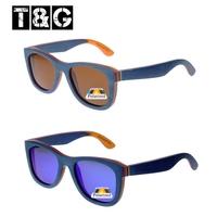 Blue Skateboard Wood Brand Designer Vintage Retro Eyewear Fashion Polarized Luxury Golf Sunglasses Men Color Filter Coating